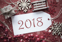 Nostalgic Christmas Decoration, Label With Text 2018