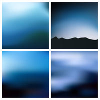 Abstract vector blue black blurred background set 4 colors set. Square blurred backgrounds set - sky clouds sea ocean beach colors