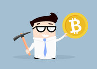 Businessman Bitcoin Mining
