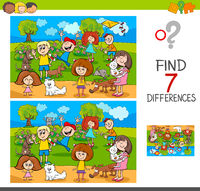 find differences with kids and pets characters