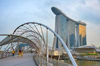 Helix bridge and Marina Bay. Singapore