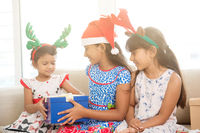 Happy Indian children celebrating Christmas
