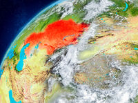 Space view of Kazakhstan in red
