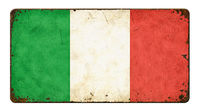 Vintage metal sign on a white background - Flag of Italy