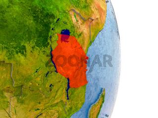 Tanzania on realistic globe