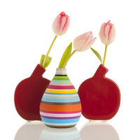 Modern vases with tulips