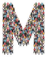 Buchstabe M Alphabet Leute Menschen People Gruppe Menschengruppe