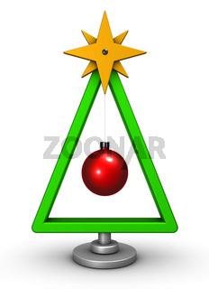 stilisierter weihnachtsbaum auf weißem hintergrund - 3d rendering