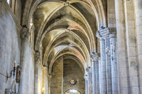 Catholicism, Medieval architectural arches inside the Cathedral of Ourense in Spain. Gothic style