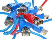 Computer network LAN cables rj45.  Internet connections choice concept.