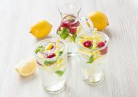 Fresh lemon and raspberry water drink