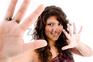portrait of female showing palms