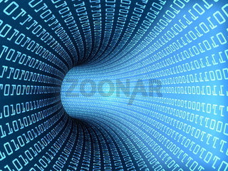 A 3d tube with binary text and light effects as concept for world wide data transfer