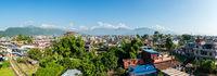 Panoramic view of Pokhara in Nepal