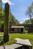 Totempfahl, Slawischer Burgwall bei Menkendorf, Landkreis Ludwigslust-Parchim, Mecklenburg-Vorpommern, Deutschland