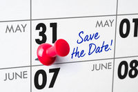 Wall calendar with a red pin - May 31