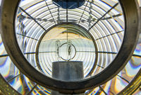 Inside of the light of a lighthouse