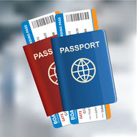 Two International passports with tickets on the airport background. Air travel concept. Vector illustration.