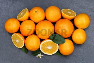 Orangen Orange Frucht Früchte Schieferplatte von oben