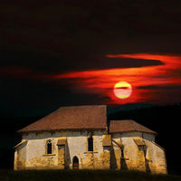haunted old church at sunset