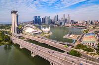 Singapore high angle view city skyline at Business District, Marina Bay, Singapore