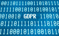 Binary code with the word GDPR in the center