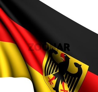 Flag of Germany against white background. Close up.