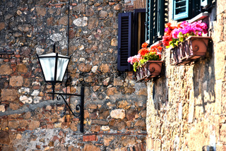 Street of historic center of Pienza in Tuscany
