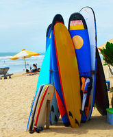 Surf equipment on the beach