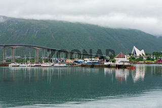 Artic cathedral and bridge in Tromso, Norway