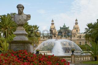 Statue in Front of the World Famous Grand Casino of Monte Carlo in Monaco