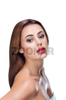 Young woman portrait with perfect skin isolated on white