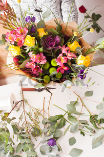 Florist making a bouquet