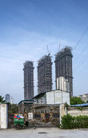 building site in urban street of downtown xiamen city china