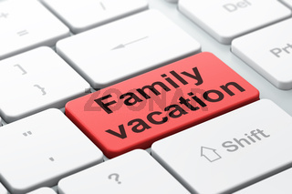 Travel concept: Family Vacation on computer keyboard background