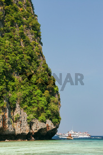 Detail of limestone cliff surrounding Maya Bay on Phi Phi Leh Island, Krabi Province, Thailand