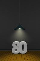 die zahl achtzig unter einer lampe - 3d rendering