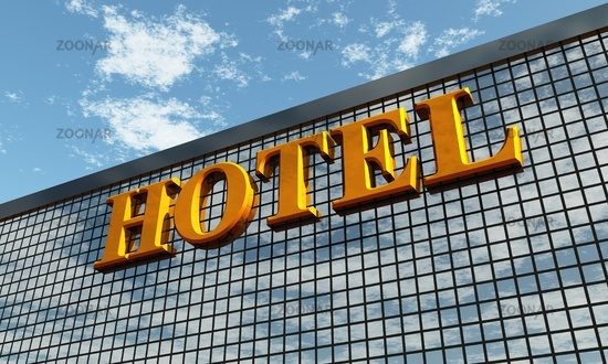 3D - Big golden HOTEL sign