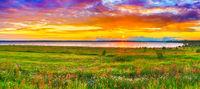 Sunset over the river Kama. Panorama