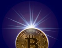 Single bitcoin macro image isolated against white