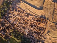 Aerial top view on Ait Ben Haddou
