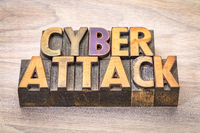 cyberattack word abstract in woodtype