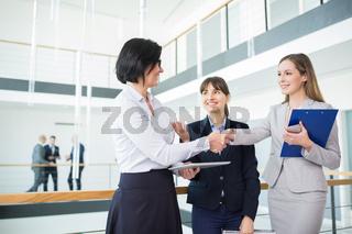 Geschäftsfrauen vereinbaren per Handschlag einen Deal