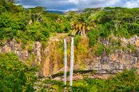 Chamarel waterfall. Beautiful landscape. Mauritius
