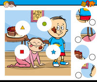 match pieces puzzle with children and pie