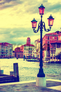 Lamp on the streen at Grand Canal, Venice
