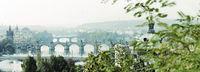 morgendliches prag, moldaubrücken, nostalgisch, panorama