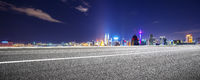 empty asphalt road with cityscape of modern city