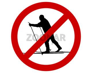 Verbotszeichen für Langläufer - Prohibition sign for cross-country skiing