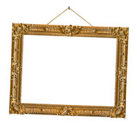Old wooden picture frame hanging on a rope
